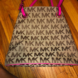 Michael Kors Signature Fabric Tote MK Pink Leather